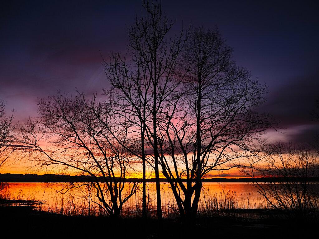 Winter Sunset Buchscharn, Lake Starnberg